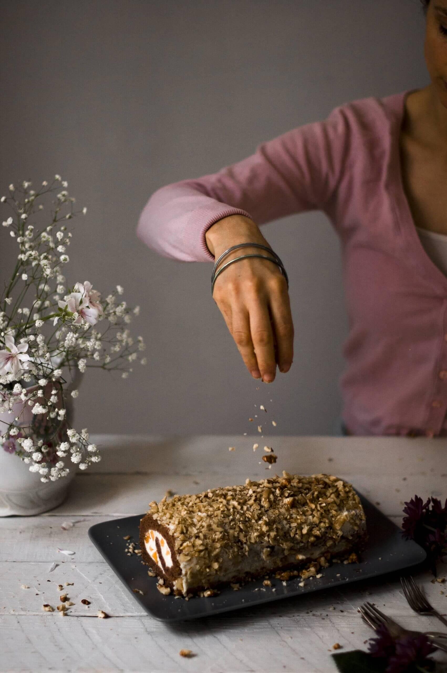 como hacer brazo de gitano de nueces y crema de chocolate blanco y melocoton casero
