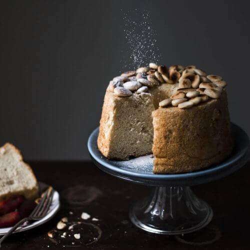 como hacer angel food cake con almendras