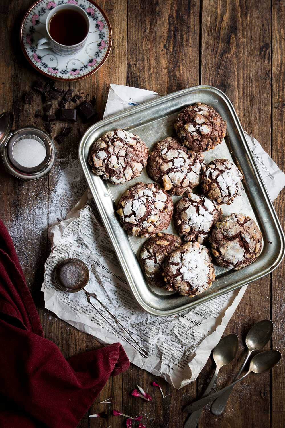 como hacer galleta de chocolate craquelada