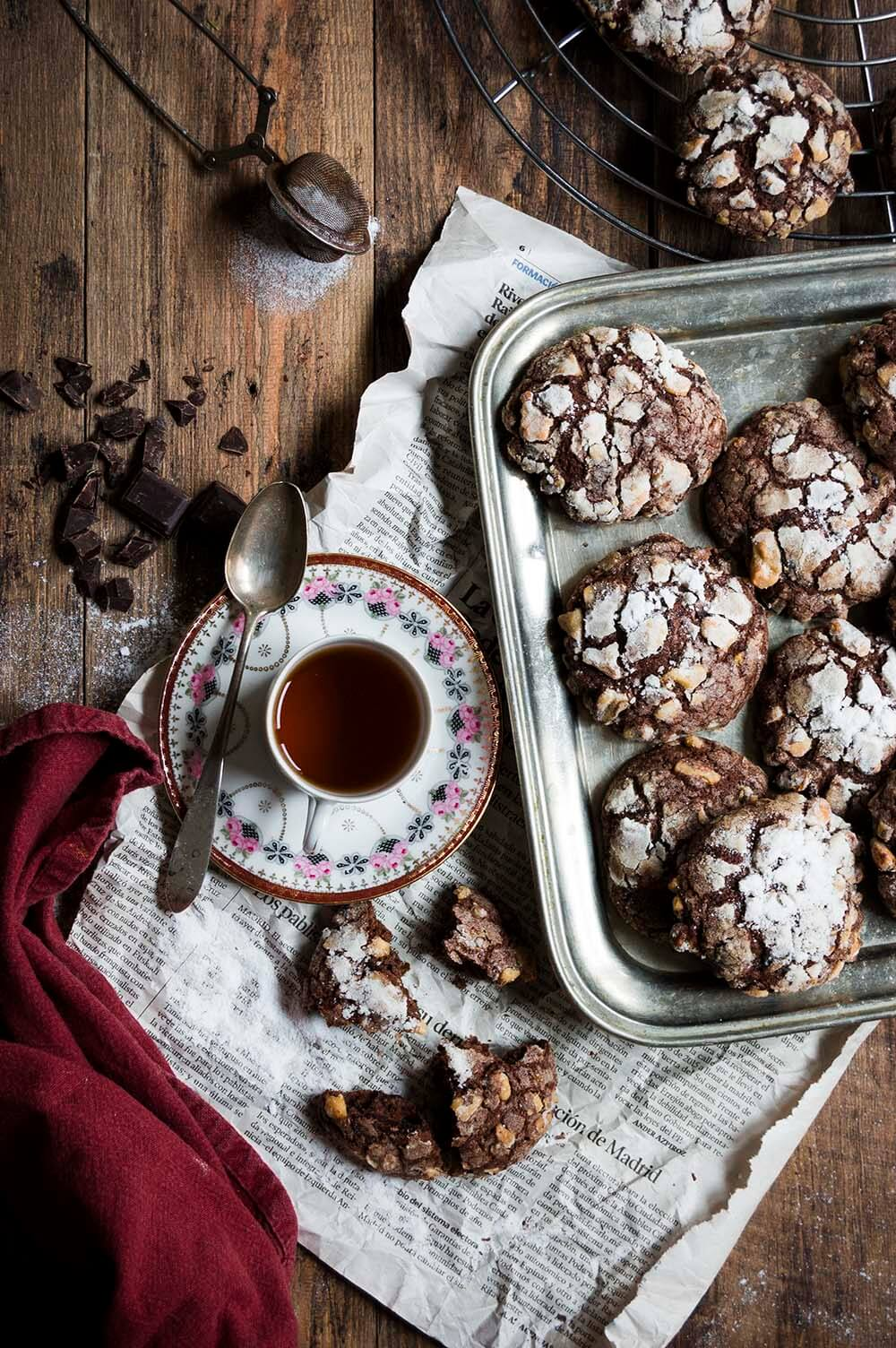 galletas de chocolate con platano y nueces