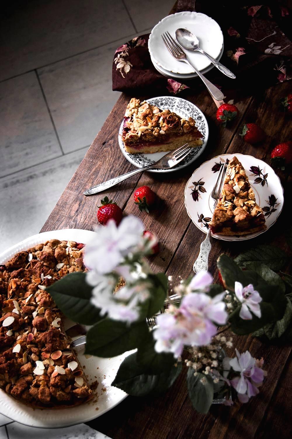 tarta de fresas con crumbles
