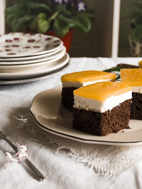 Pastel de requesón naranja y chocolate