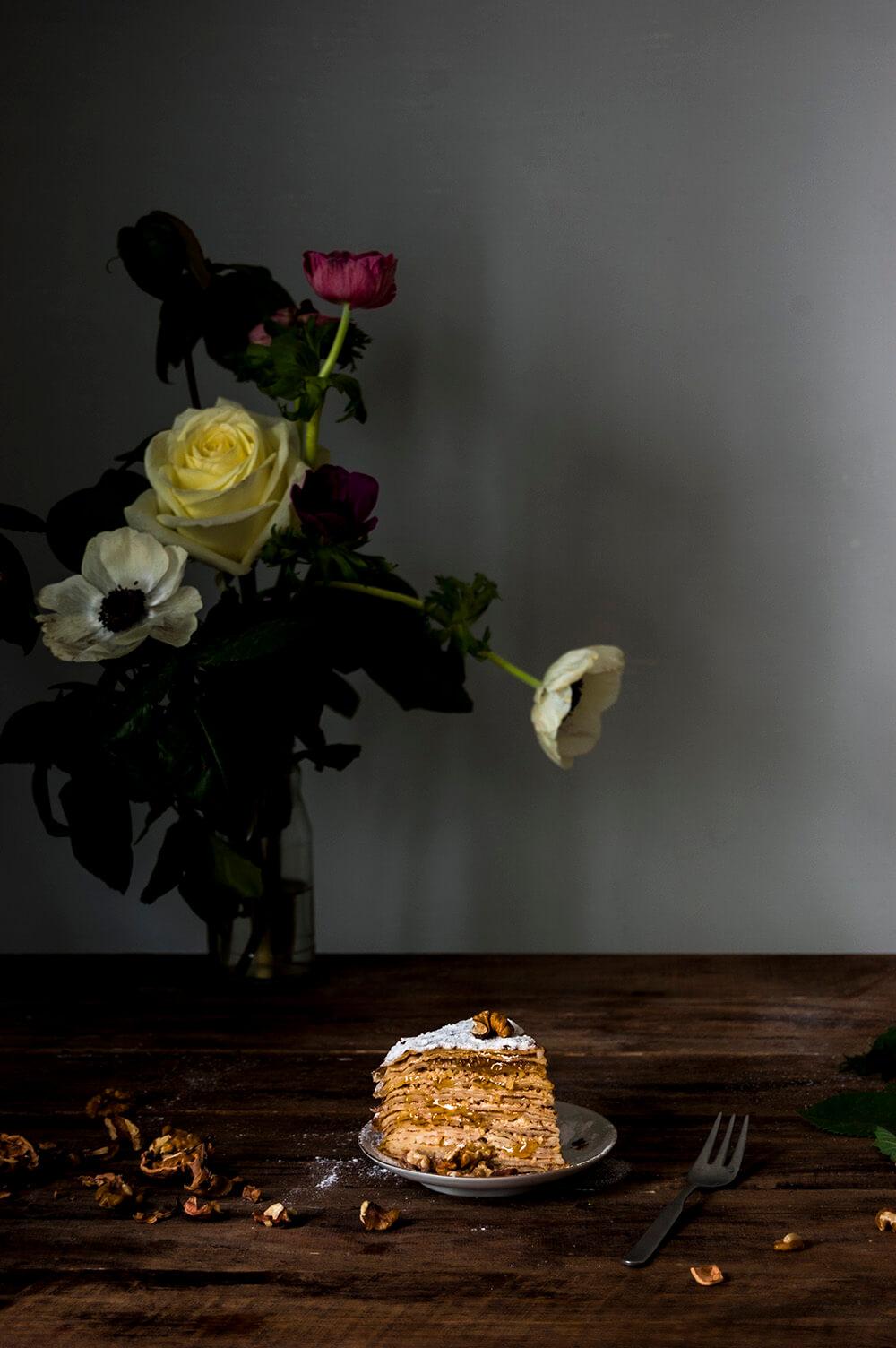 receta de tarta de crepes con nueces y mermelada