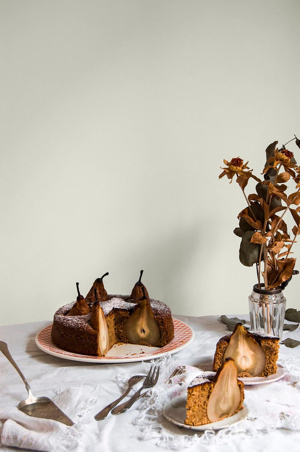 tarta de pera con avellana