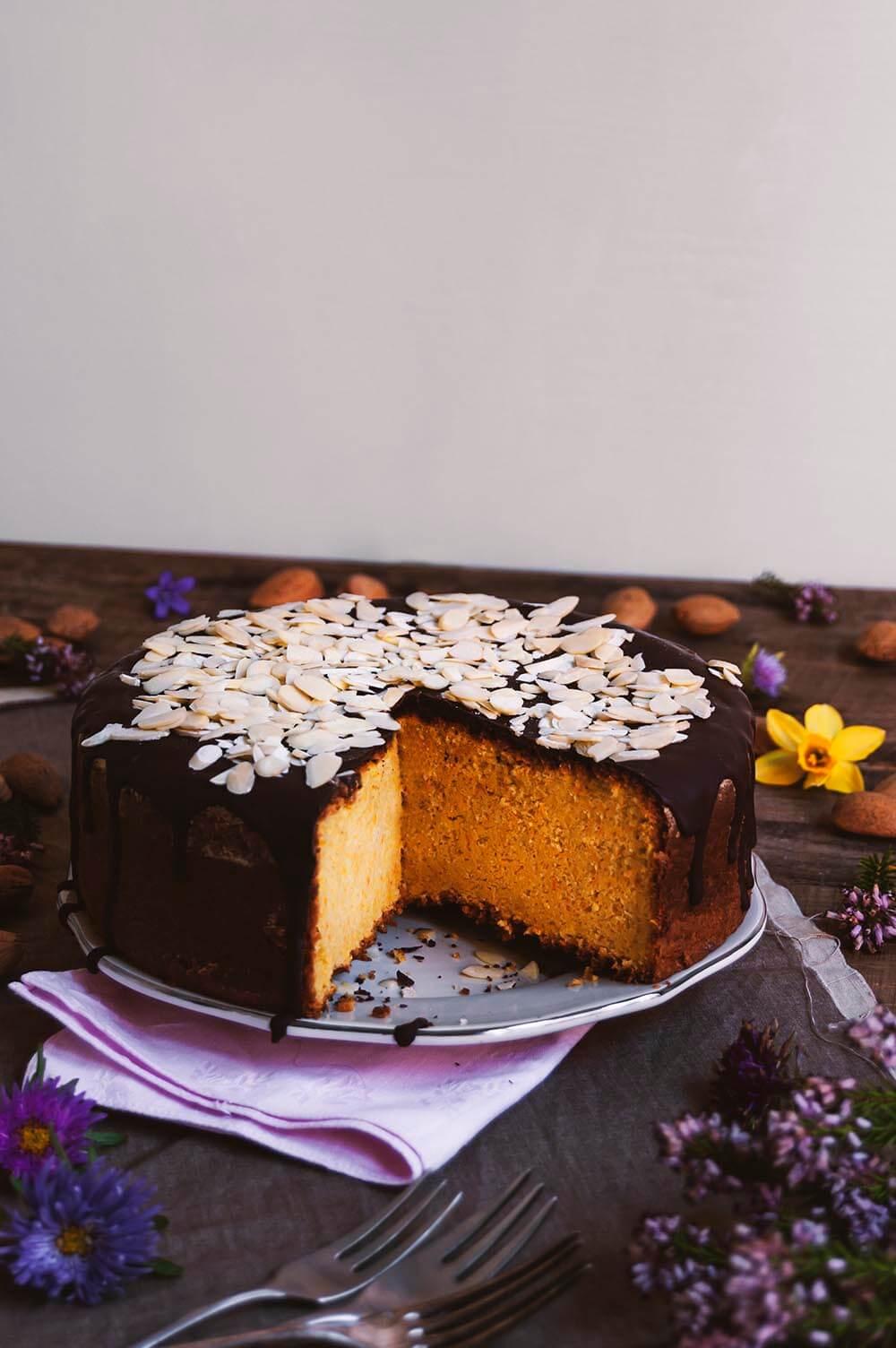 tarta de zanahoria con chocolate