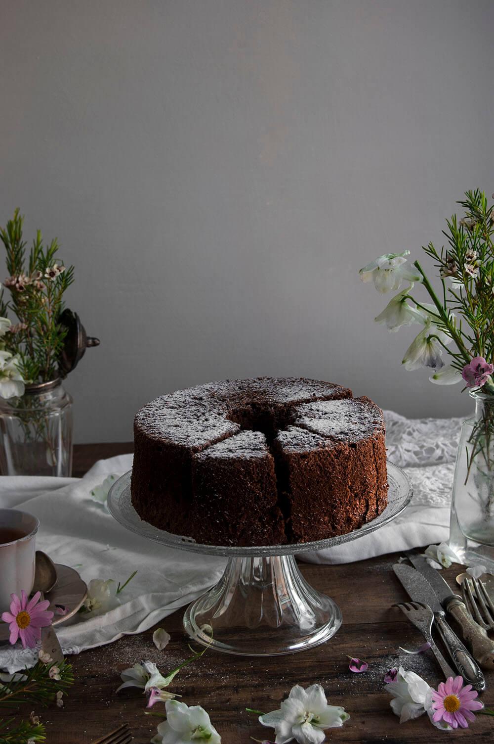 angel food cake de chocolate