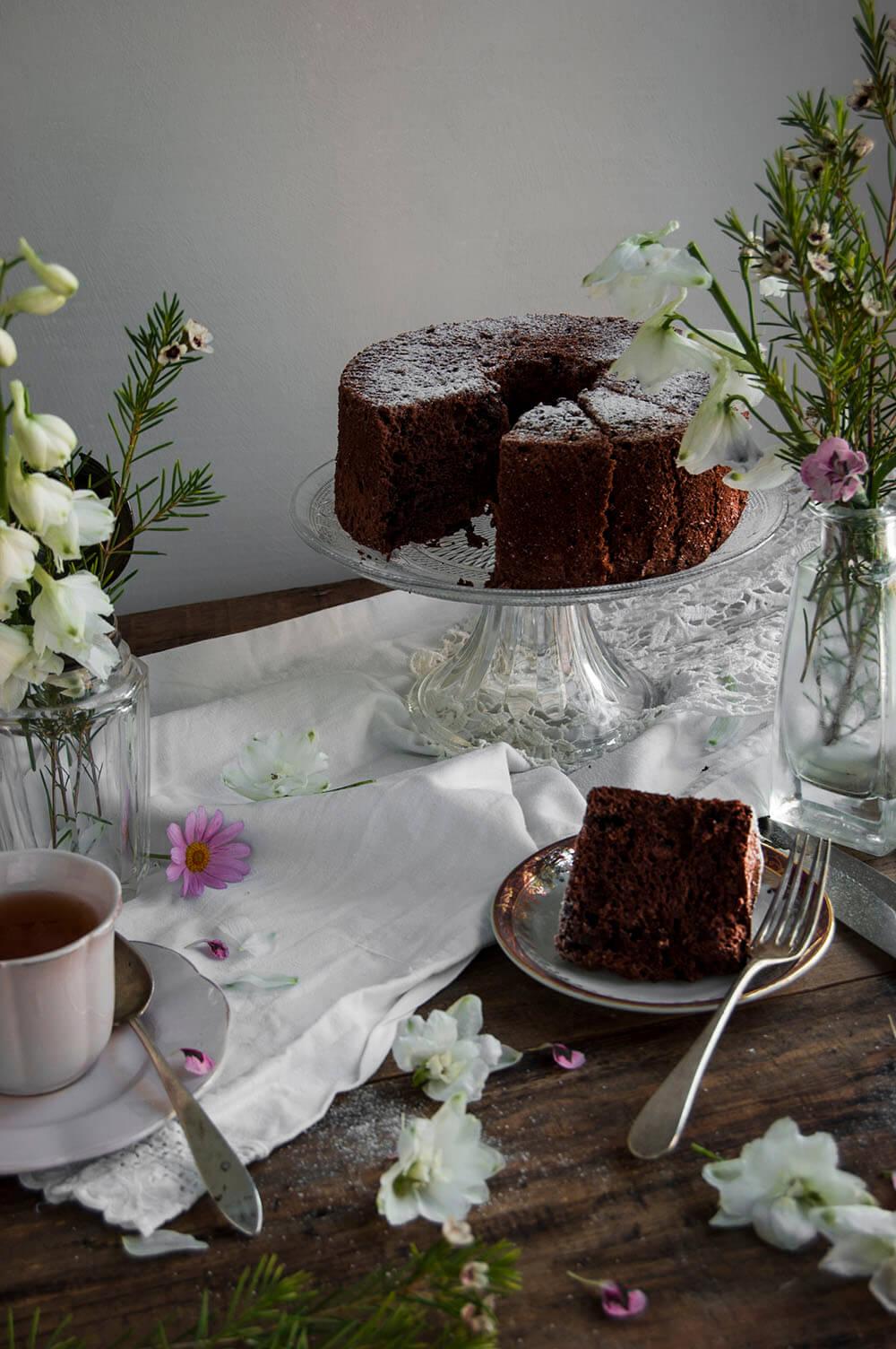 como hacer angel food cake de chocolate