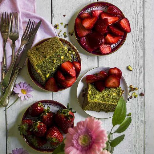 angel food cake de te matcha y pistacho