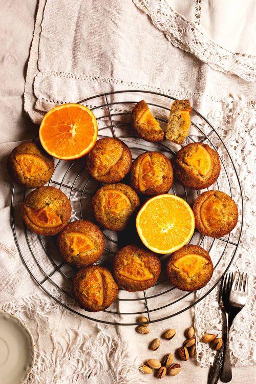 Friands de pistacho y naranja