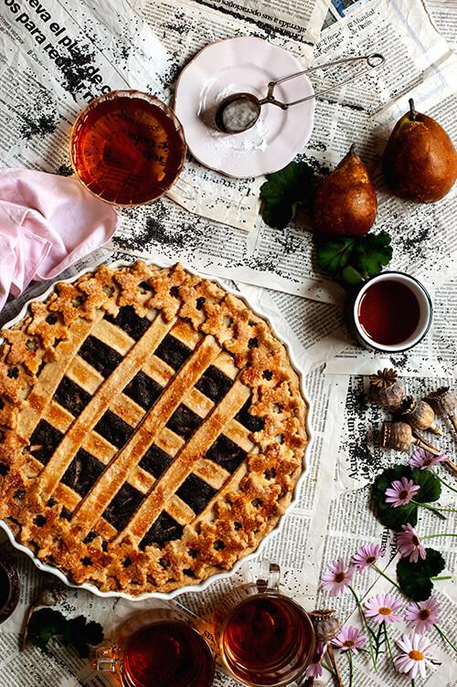 como hacer tarta de amapola con peras