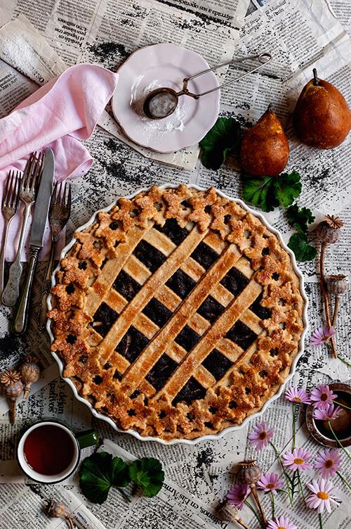 receta de tarta de amapola con peras